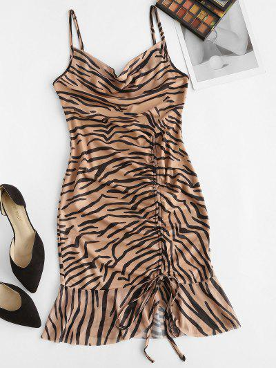 Cowl Neck Zebra Print Cinched Ruffle Mesh Dress - Light Brown S