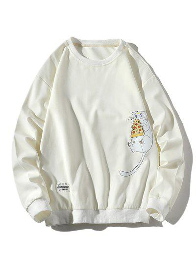 Cartoon Cat Printed Letter Applique Sweatshirt - White M