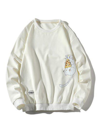 Cartoon Cat Printed Letter Applique Sweatshirt - White Xl