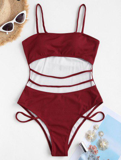 ZAFUL Cutout Strappy Ribbed One-piece Swimsuit - Deep Red L
