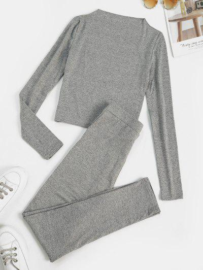 Marled Fleece Lined Skinny Two Piece Pants Set - Light Gray L