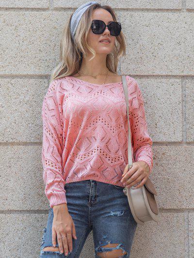 Open-knit Drop Shoulder Sweater - Light Pink L