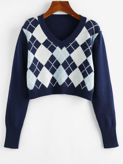 ZAFUL Argyle V Neck Crop Sweater - Cobalt Blue S