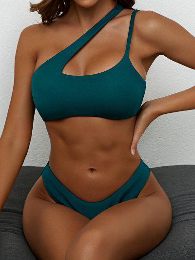 ZAFUL Cut Out High Cut One Shoulder Bikini Swimwear - Deep Green L