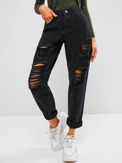 Jeans Casuali Strappati A Vita Alta Con Stampa Lettere - Nero L