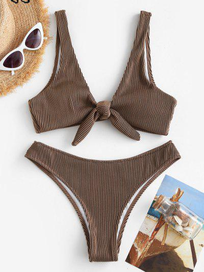 ZAFUL Tie Front Textured Ribbed Bikini Swimwear - Coffee M