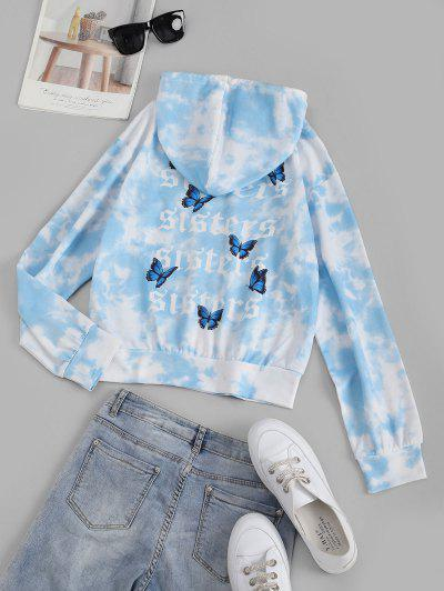 Tie Dye Butterfly Letter Graphic Drawstring Hoodie - Light Blue L