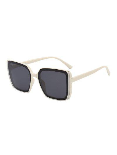 Stripe Design Square Oversized Sunglasses - Beige