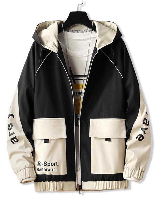 Letter Hooded Raglan Sleeve Zip Up Jacket, Black