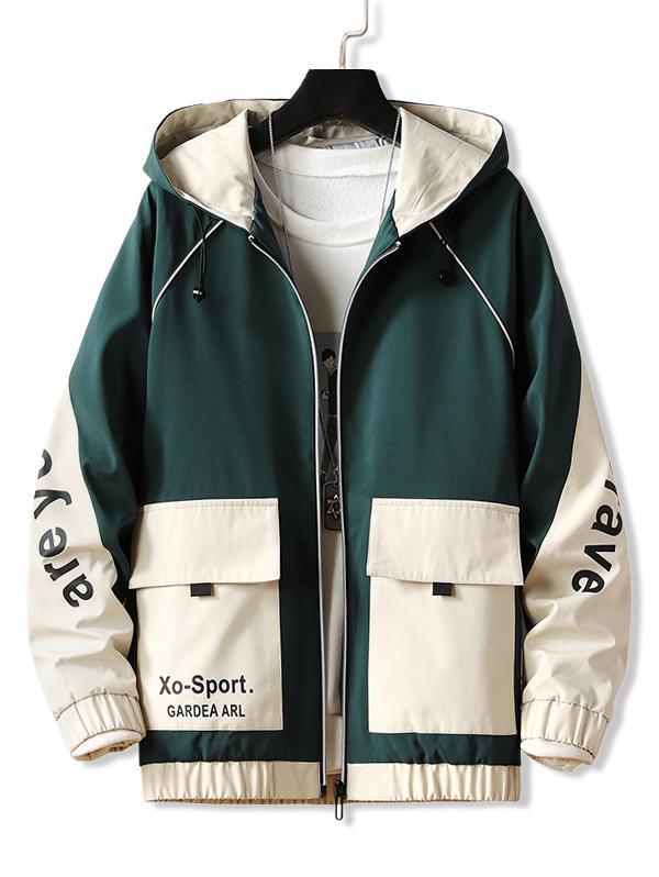 Letter Hooded Raglan Sleeve Zip Up Jacket, Dark green