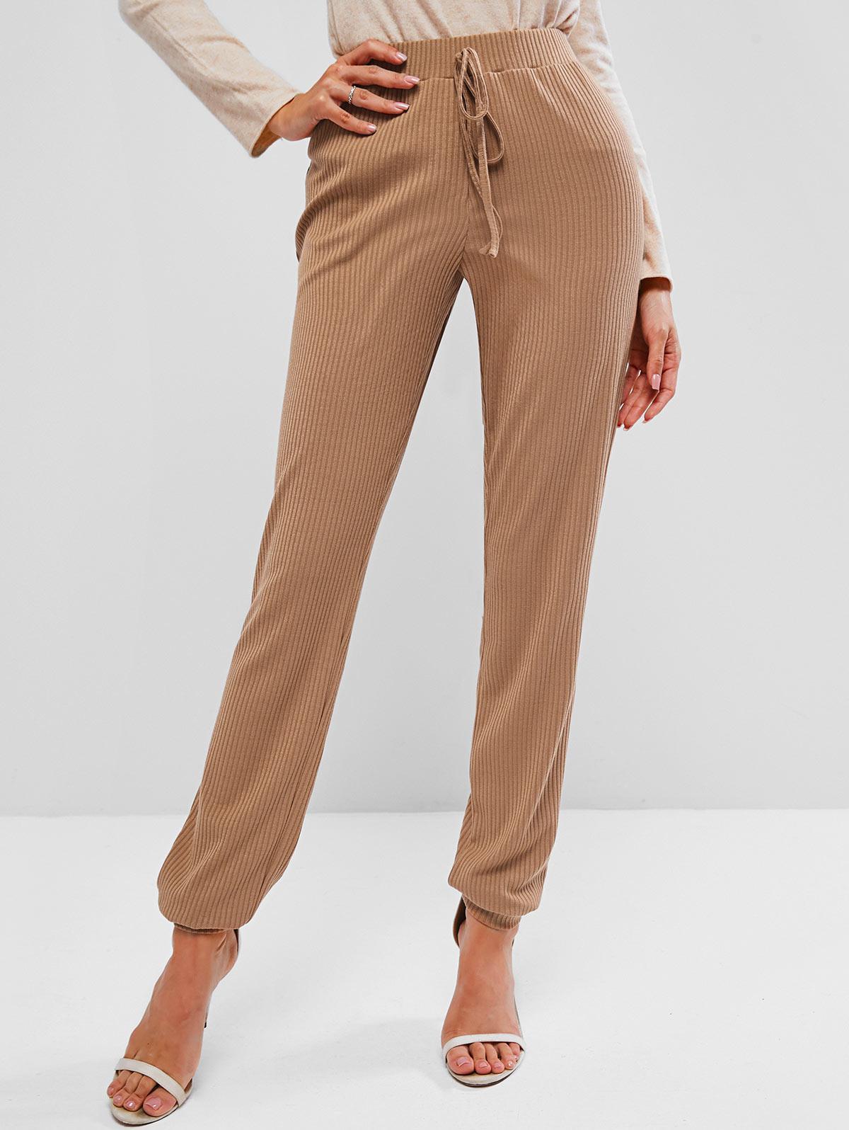 Pantalon Tricoté Côtelé à Taille Haute - ZAFUL - Modalova