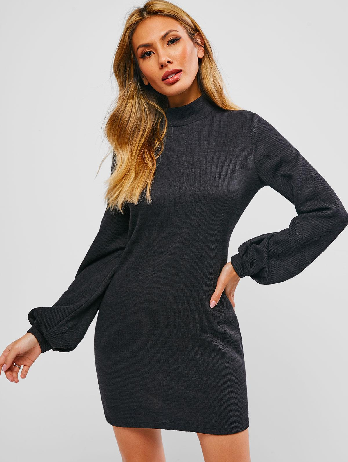 ZAFUL Bishop Sleeve Mock Neck Mini Sweater Dress
