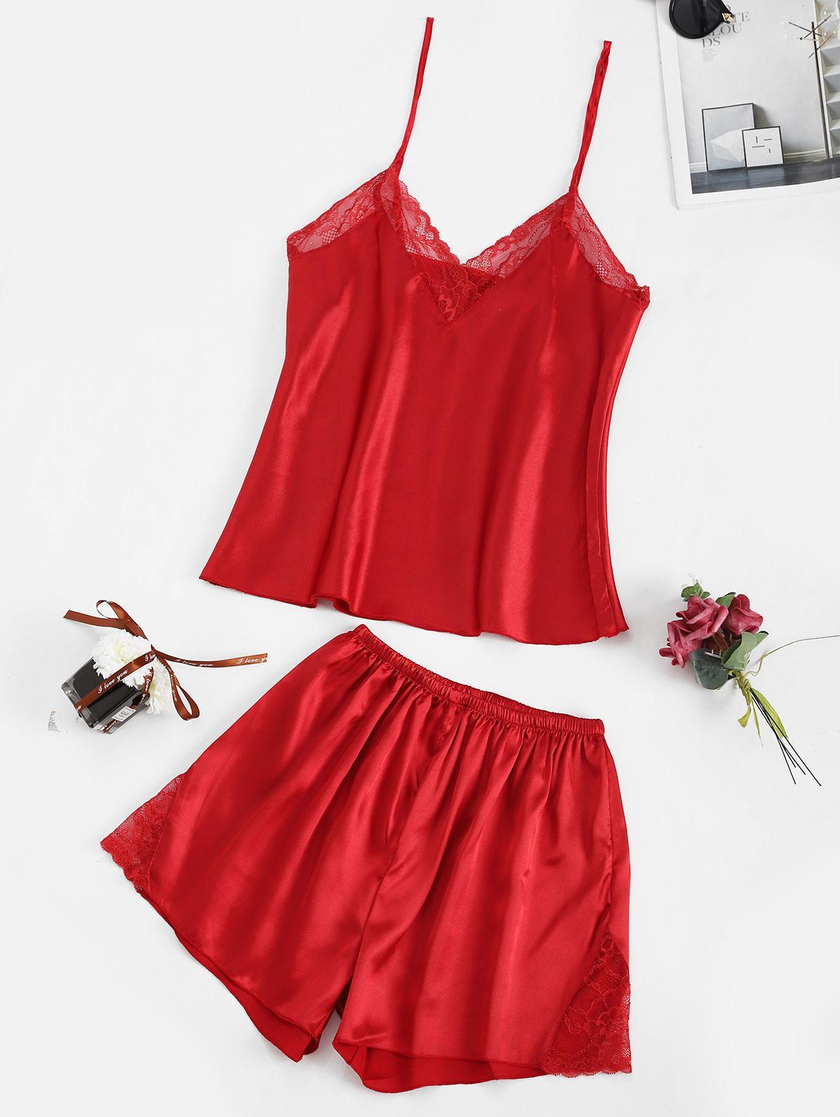 Lace Insert Satin Pajama Shorts Set
