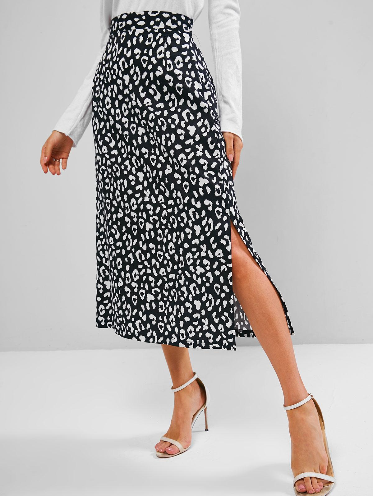 Leopard Animal Print Slit A Line Skirt