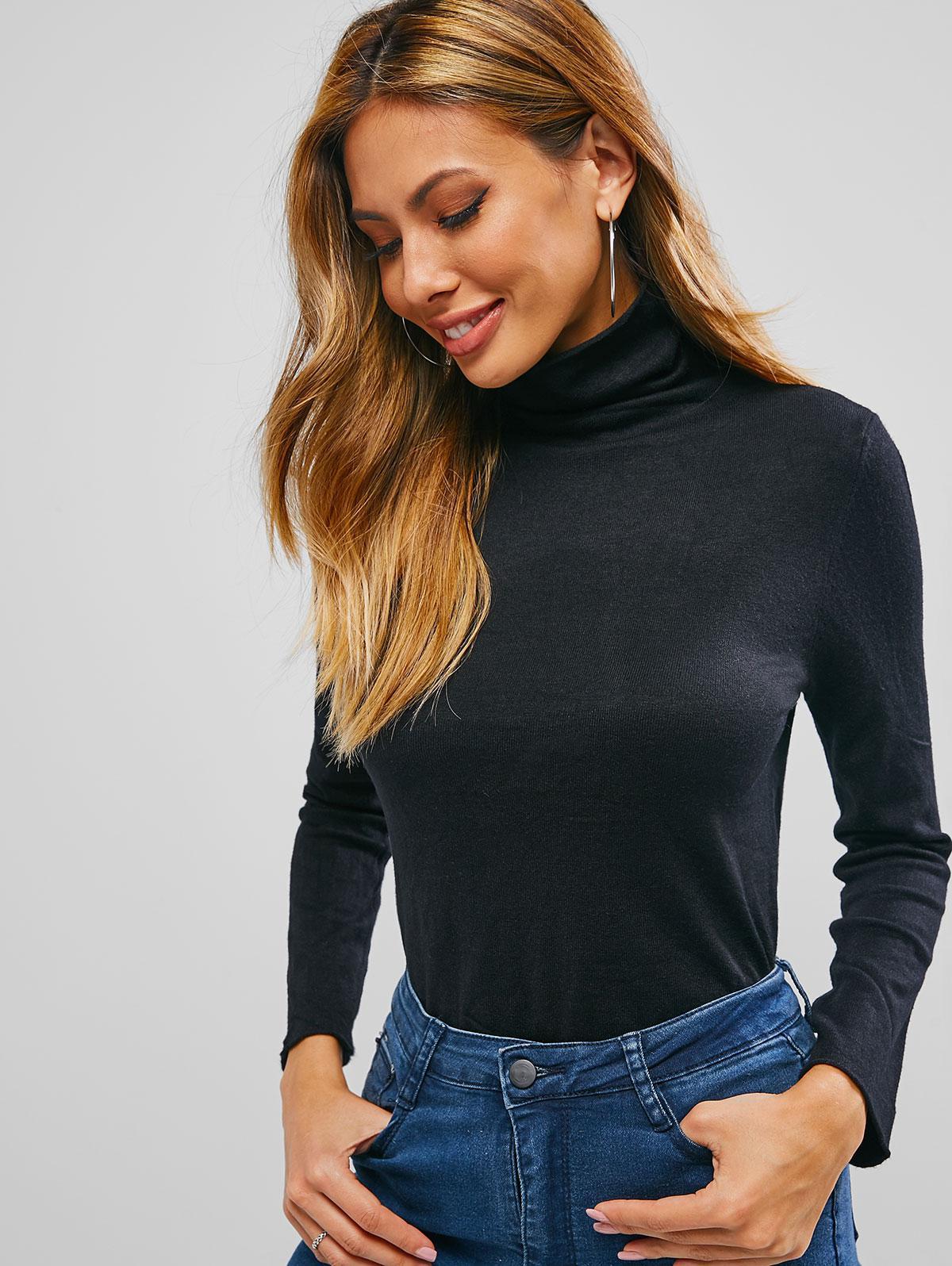 Turtleneck Solid Color Plain Knit Sweater