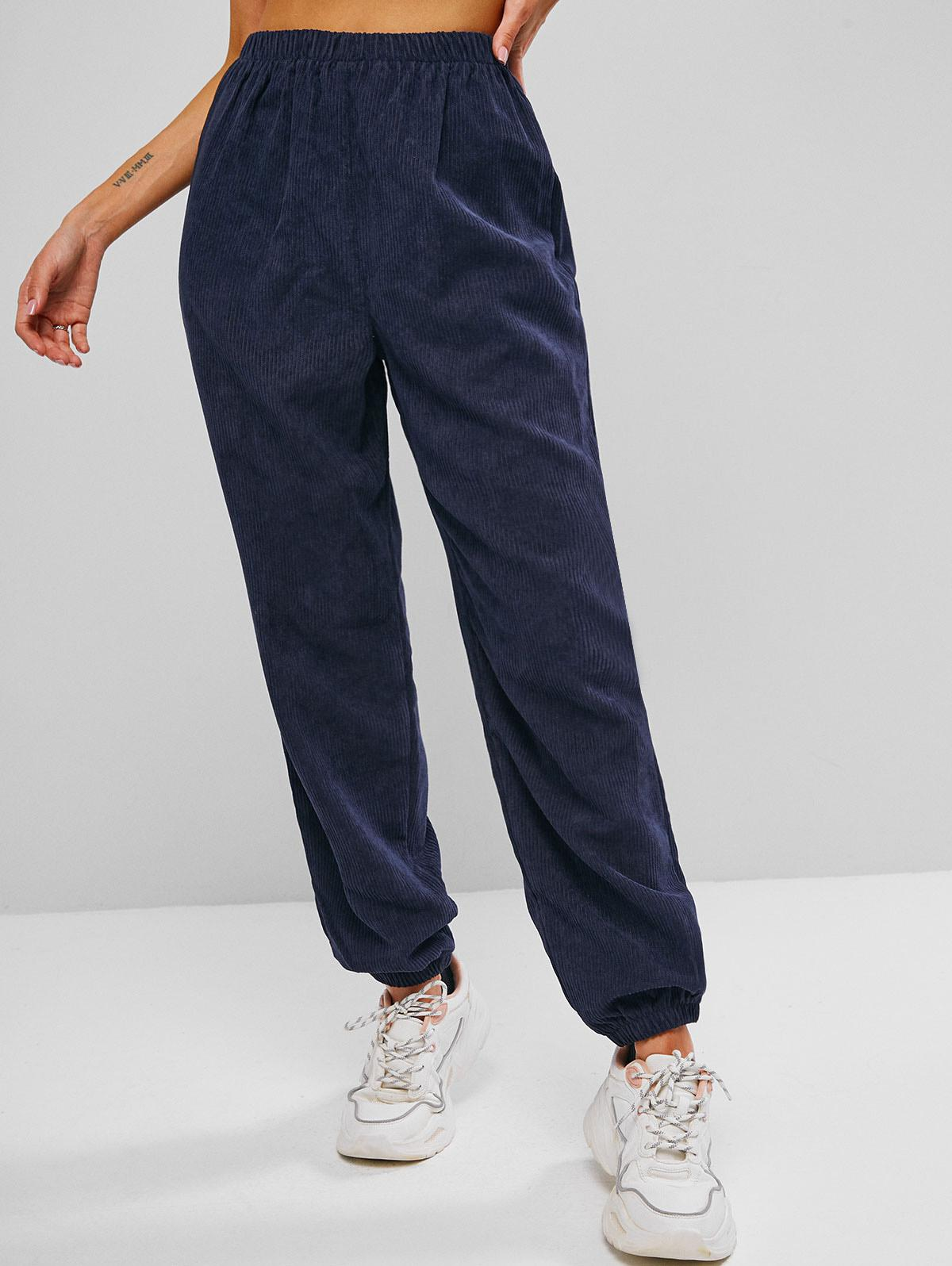 High Waisted Corduroy Pull On Pants