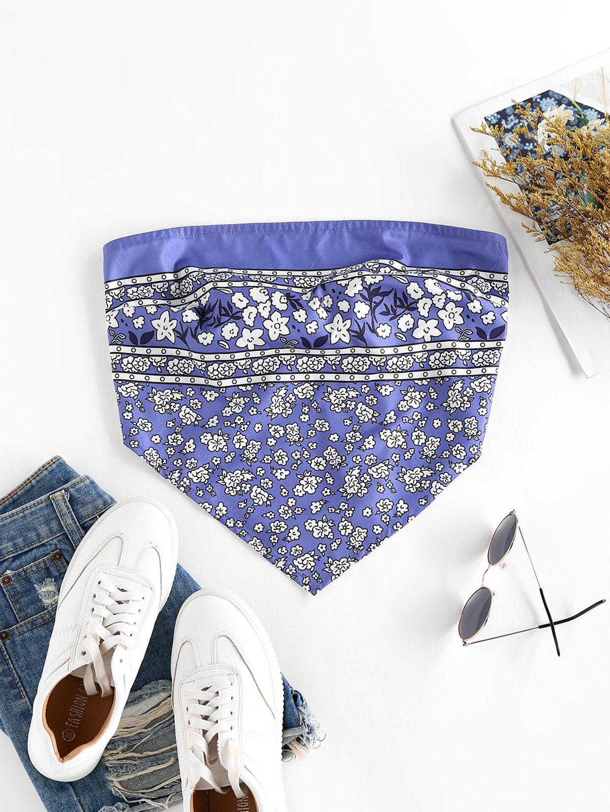 ZAFUL Flower Print Strapless Bandana Top