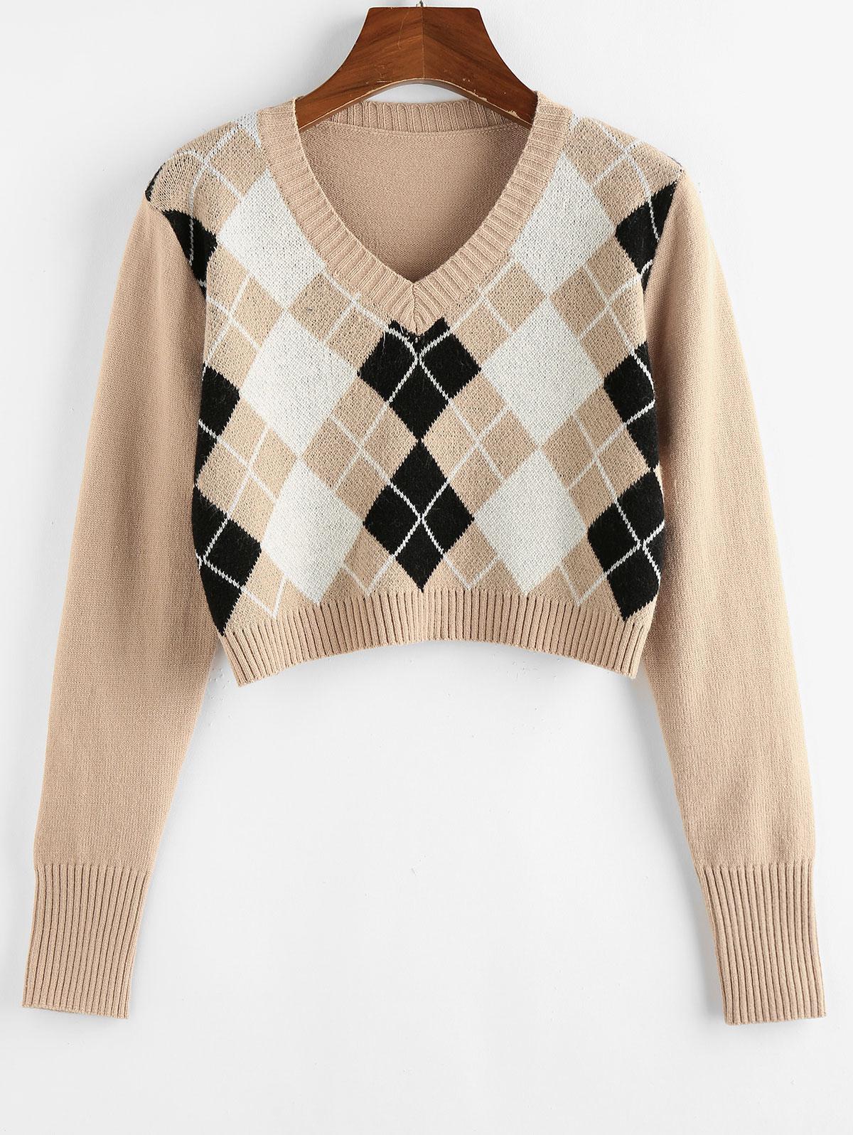 ZAFUL Argyle V Neck Crop Sweater