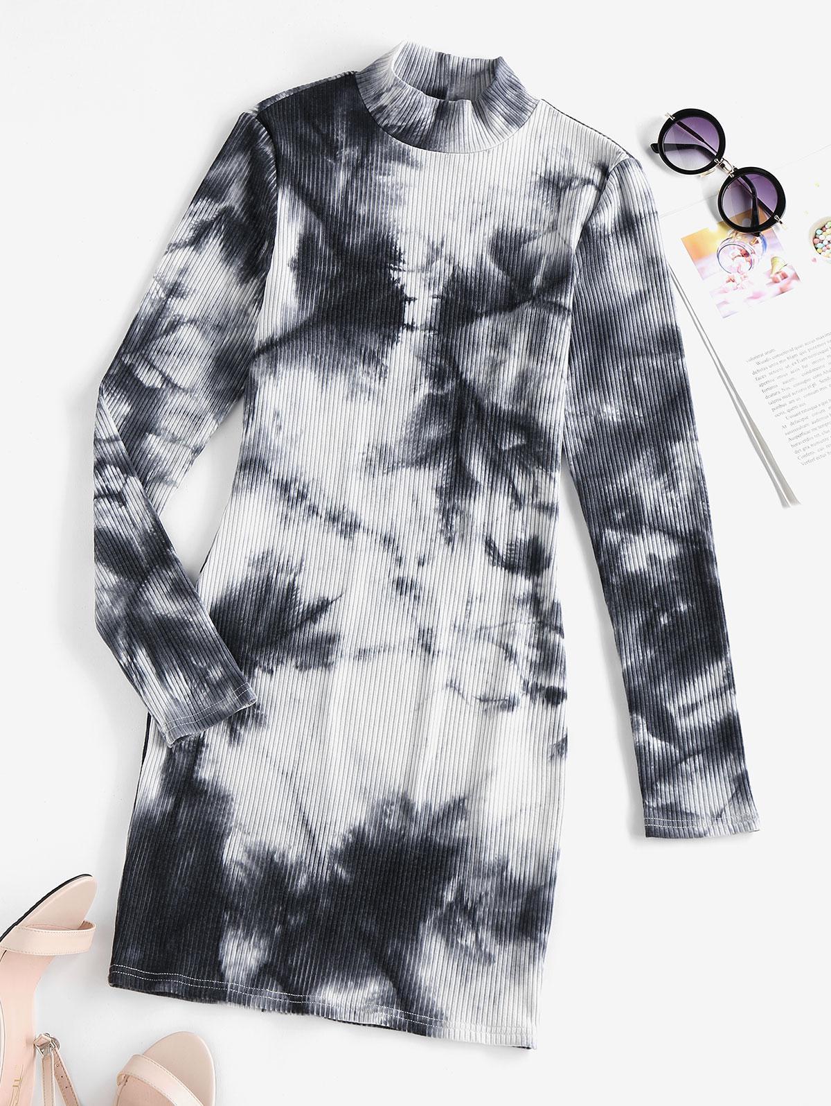 ZAFUL Tie Dye Ribbed High Neck Bodycon Dress