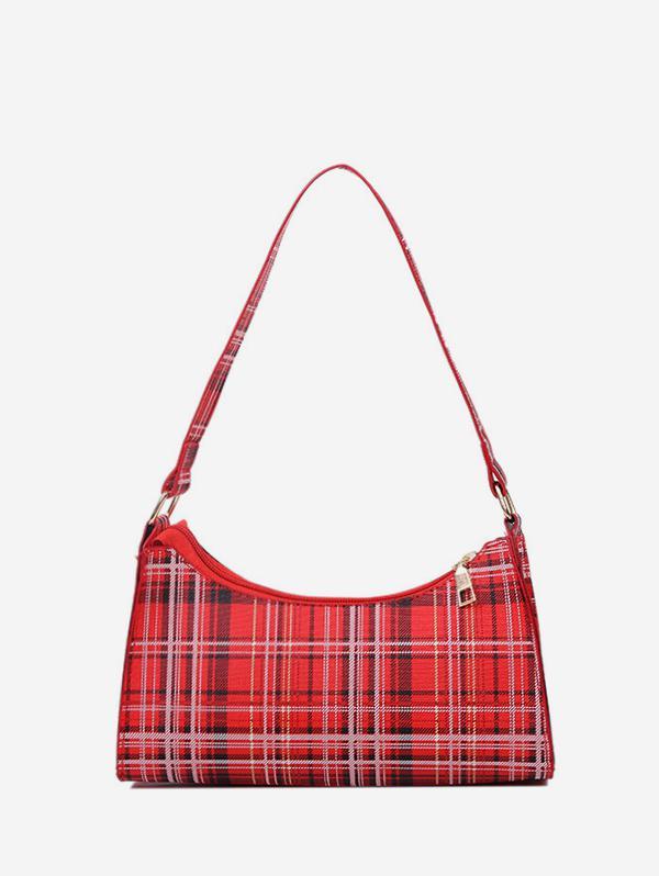 Rectangle Plaid Pattern Shoulder Bag