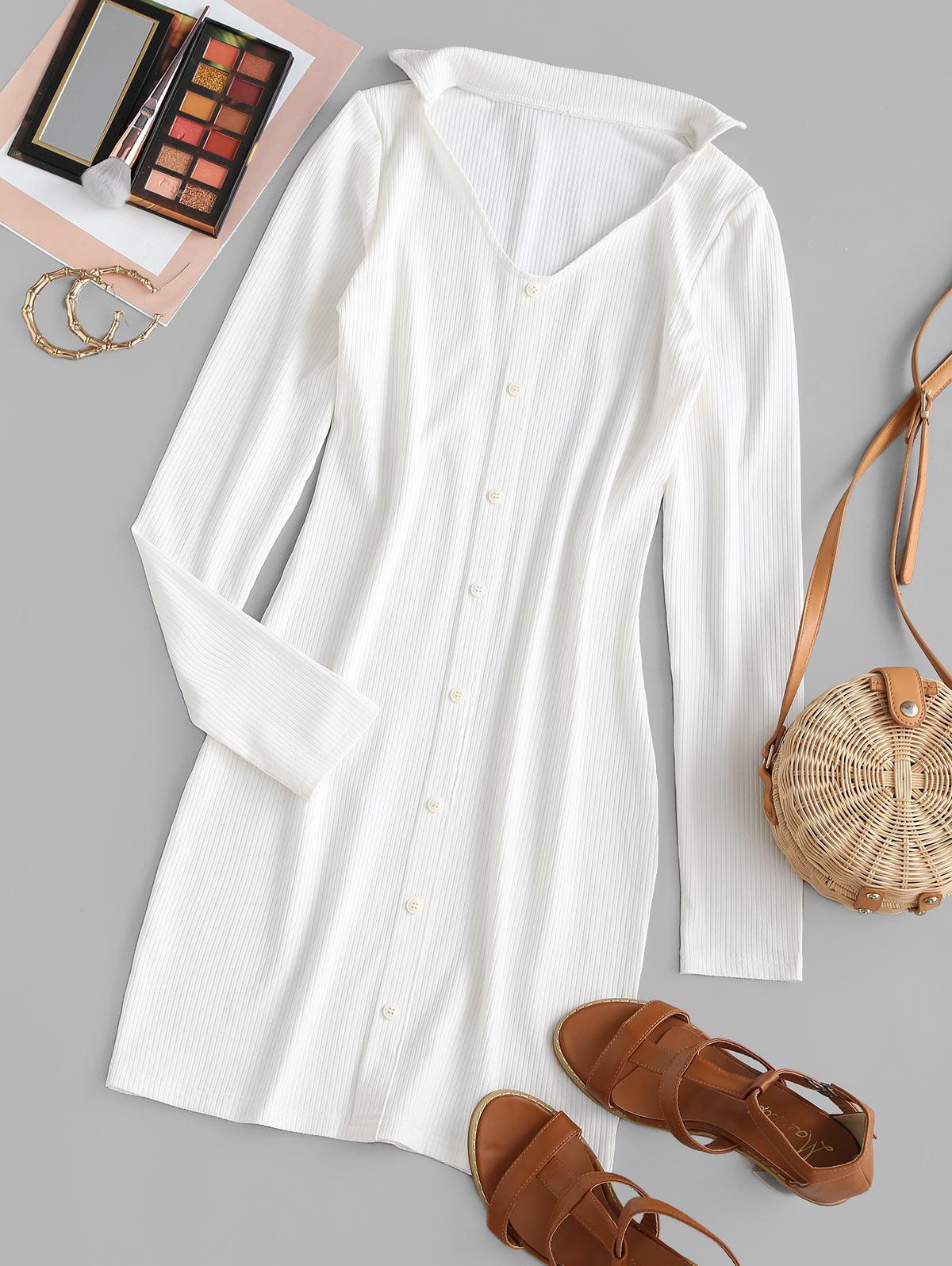 Ribbed Mock Button Bodycon Dress