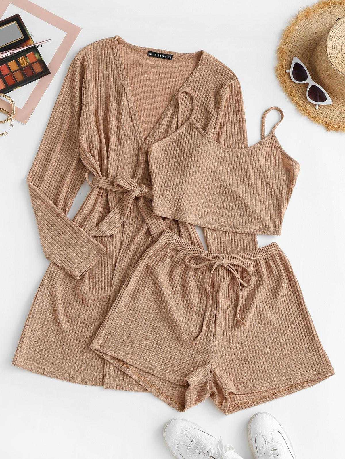 Ribbed Knit Cami Pajama Set with Robe