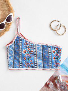 ZAFUL Boho Flower One Shoulder Ribbed Bikini Top - Blue S