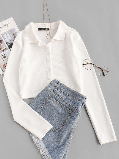 Cropped Button Up Ribbed Tee - White Xs