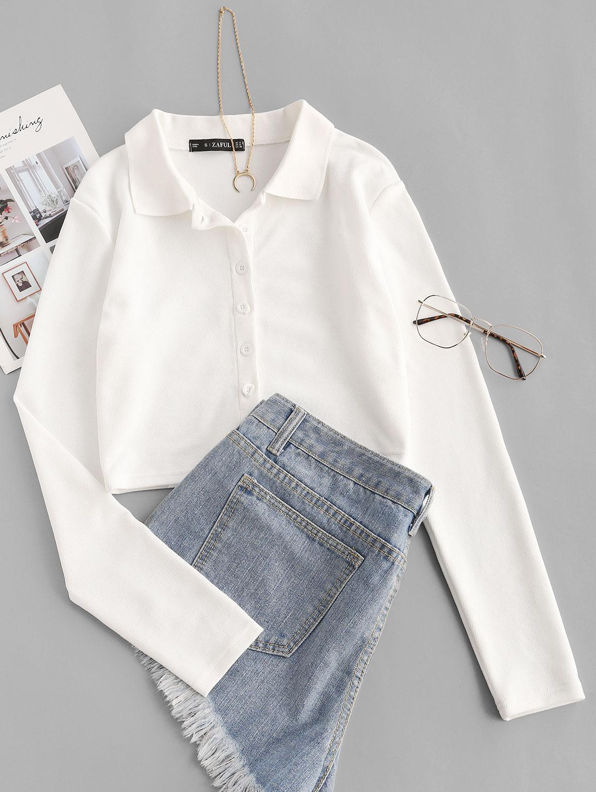 Cropped Button Up Ribbed Tee