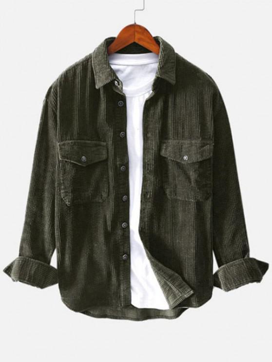fashion Double Pockets Button Up Corduroy Shirt - DEEP GREEN 2XL