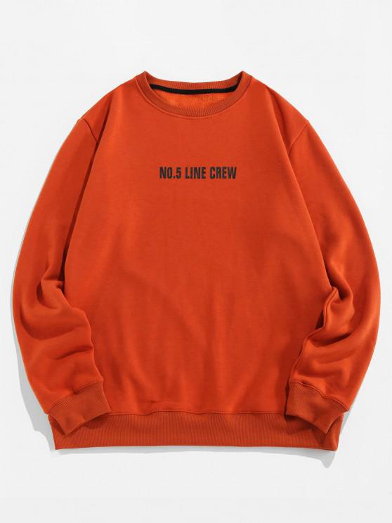 outfits Line Crew Letter Print Crew Neck Sweatshirt - COFFEE S