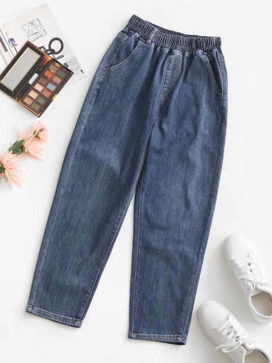 Jeans Cintura Alta Elástica Bolsillo - Azul Profundo L