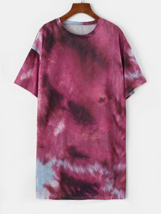 fancy Tie Dye Drop Shoulder Longline T-shirt - CONCORD L