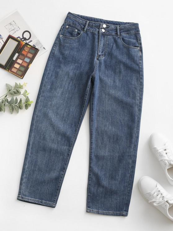 trendy Zipper Fly Pocket High Rise Mom Jeans - BLUE L