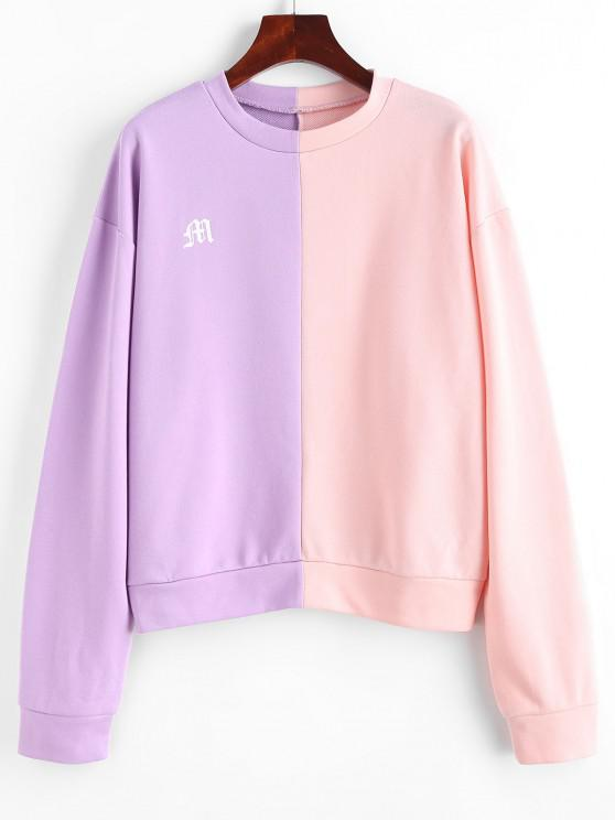 Graphic Two Tone Drop Shoulder Sweatshirt - متعدد S