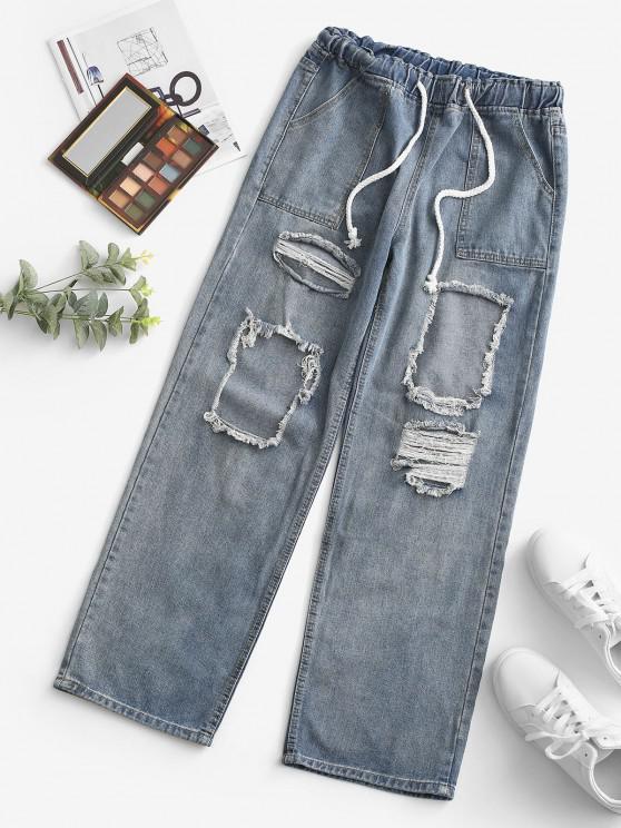 buy Grunge Drawstring Ripped Straight Jeans - LIGHT BLUE M