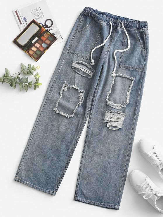 Grunge Drawstring Ripped Straight Jeans - أزرق فاتح S