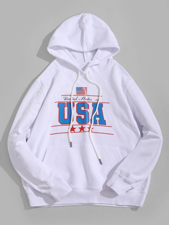 women's USA Graphic Kangaroo Pocket Hoodie - WHITE M