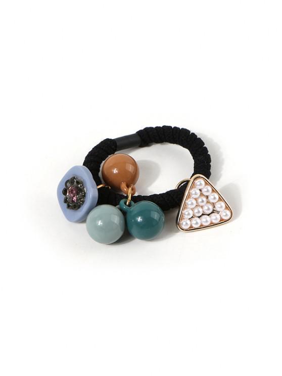 Faux Pearl Beads Pendant Hair Tie - أسود