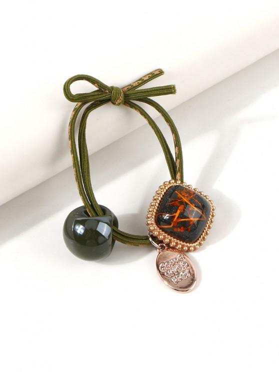 Square Pendant Knot Hair Tie - السرخس الأخضر