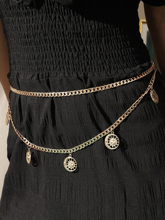 Sun And Moon Pendant Layers Waist Chain - ذهبي