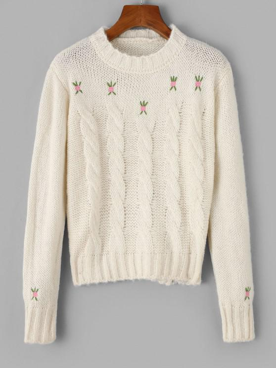 Crew Neck Embroidered Cable Knit Sweater - حليب ابيض حجم واحد