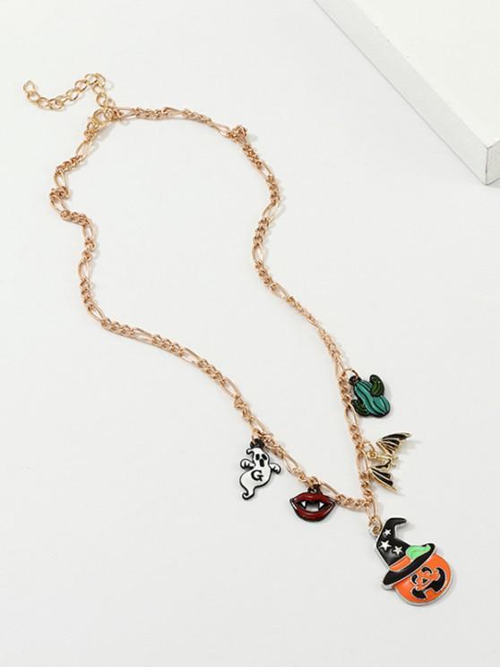 Halloween Pumpkin Ghost Bat Pendant Necklace - ذهبي