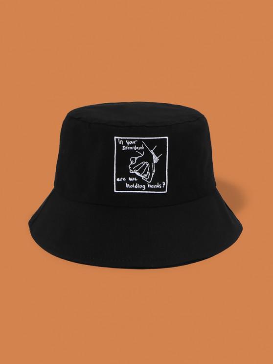 fancy Embroidery Hand In Hand Bucket Hat - BLACK