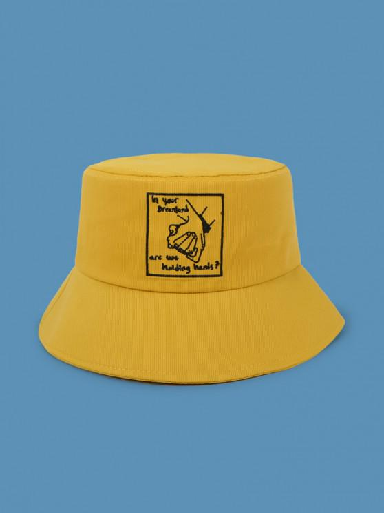 unique Embroidery Hand In Hand Bucket Hat - BEE YELLOW