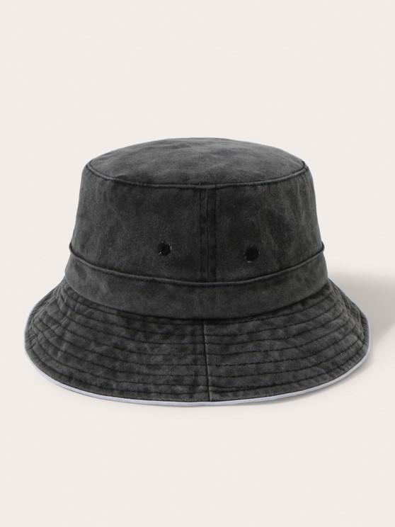 buy Retro Washed Cotton Bucket Hat - BLACK