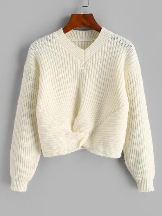 Twisted V Neck Crop Sweater - الأبيض الدافئ حجم واحد