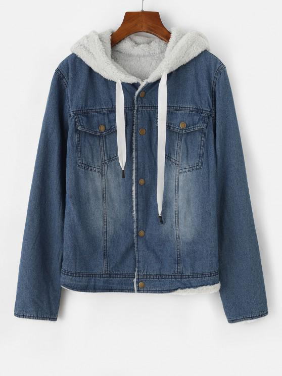 Hooded Faux Fur Lining Pocket Denim Jacket - أزرق S