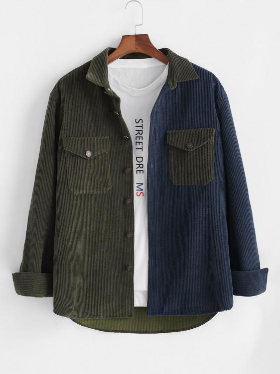 online Colorblock Corduroy Long Sleeve Pocket Patch Shirt - DEEP GREEN S