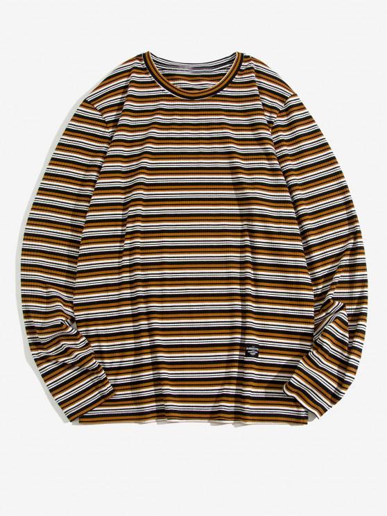 ZAFUL Striped Allover Pattern Long Sleeve T-shirt - متعدد S